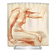 Study Of A Female Nude Seated Shower Curtain