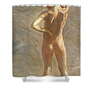 Study Of A Nude Boy Shower Curtain