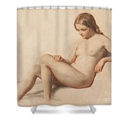 Study Of A Nude Shower Curtain by William Mulready