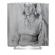 Study Of A Seated Girl. Shower Curtain