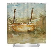 Study Of A Watering Tub Shower Curtain