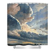 Study Of Clouds With A Sunset Near Rome Shower Curtain