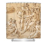 Study Of Diana With Her Nymphs And Hounds Shower Curtain
