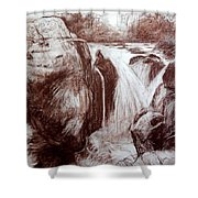 Study Of Rocks At Betws-y-coed Shower Curtain