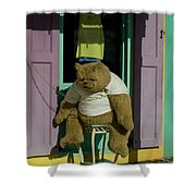 Stuffed Bear Chained To A Door Shower Curtain