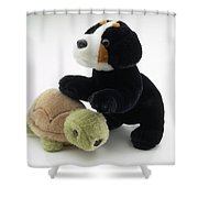 Stuffed Dog And Turtle Shower Curtain
