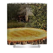 Stump Barn Car Shower Curtain