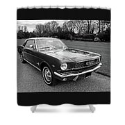 Stunning 1966 Mustang In Black And White Shower Curtain