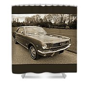 Stunning '66 Mustang In Sepia Shower Curtain