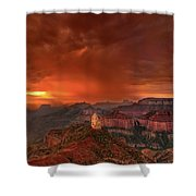 Stunning Red Storm Clouds Over The North Rim Grand Canyon Arizona Shower Curtain