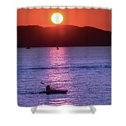 Stunning Sunset At Lake Champlain, Vt Shower Curtain by Sven Kielhorn