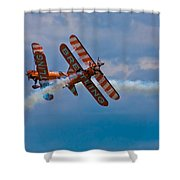 Stunt Biplanes With Wingwalkers Shower Curtain