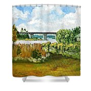 Sturgeon City Park Shower Curtain