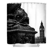 Sturgeon Lamp Post With Big Ben London Black And White Shower Curtain