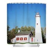 Sturgeon Point Lighthouse, Michigan - Horizontal Shower Curtain