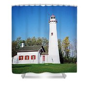 Sturgeon Point Lighthouse, Michigan - Vertical  Shower Curtain