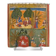Style Of Manohar    Krishna And Radha With Their Confidantes Page From A Dispersed Gita Govinda Shower Curtain