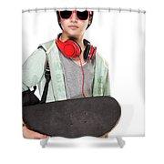 Stylish Boy With Skateboard Shower Curtain