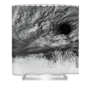 Stylized Monochrome Landscape Of A Storm Shower Curtain
