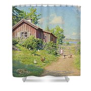 Subjects With Girl And Pecking Chickens Shower Curtain