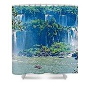 Subtropical Vegetation Surrounds Waterfalls In Iguazu Falls National Park-brazil Shower Curtain