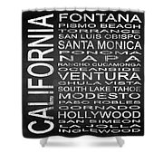 Subway California State 5 Square Shower Curtain