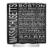 Subway Massachusetts State Square Shower Curtain