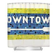 Subway Tile Sign Downtown Shower Curtain