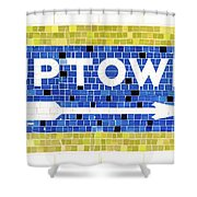 Subway Tile Sign Uptown Shower Curtain