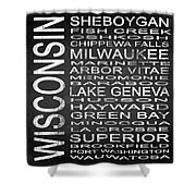 Subway Wisconsin State 2 Square Shower Curtain