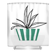 Succulent In Green Pot 3- Art By Linda Woods Shower Curtain by Linda Woods