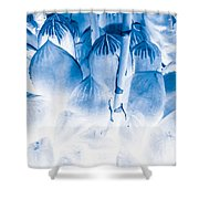Succulents In Bleu Shower Curtain