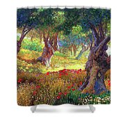 Poppies And Olive Trees Shower Curtain