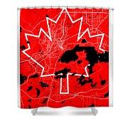 Sudbury Street Map - Sudbury Canada Road Map Art On Canada Flag Symbols Shower Curtain