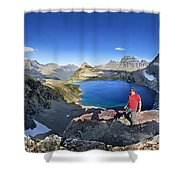 Sue Lake Overlook 2 - Glacier National Park Shower Curtain