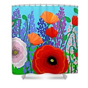 Sue's Flower Bed Shower Curtain