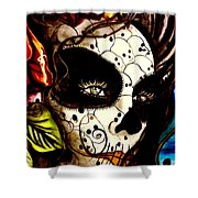 Sugar Skull In Blue  Shower Curtain