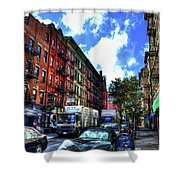 Sullivan Street In Greenwich Village Shower Curtain by Randy Aveille