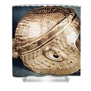 Sumerian Gold Helmet Shower Curtain