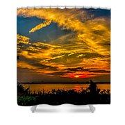 Summer Sunset Over The Delaware River Shower Curtain