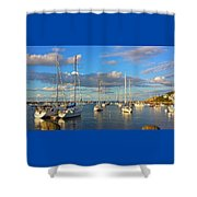 Summer Afternoon At Rockport Harbor Shower Curtain