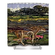 Summer And Horse Statue Shower Curtain
