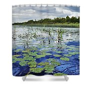 Summer Blue  Lake Under Clody Grey Sky With Forest On Coast Shower Curtain