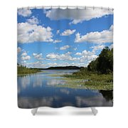 Summer Cloud Reflections On Little Indian Pond In Saint Albans Maine Shower Curtain