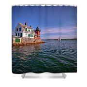 Summer Day At Rockland Breakwater Shower Curtain