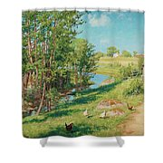 Summer Day By The Stream Shower Curtain