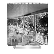 Summer Day On The Victorian Veranda Bw 03 Shower Curtain