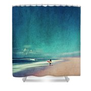 Summer Days - Abstract Seascape With Surfer Shower Curtain
