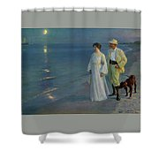 Summer Evening On The Beach At Skagen The Artist And His Wife Shower Curtain