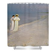 Summer Evening On The Skagen Southern Beach With Anna Ancher And Marie Kroyer Shower Curtain